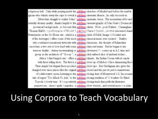 Using Corpora to Teach Vocabulary