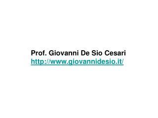 Prof. Giovanni De Sio Cesari giovannidesio.it/