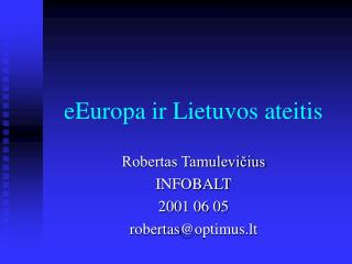 eEuropa ir Lietuvos ateitis