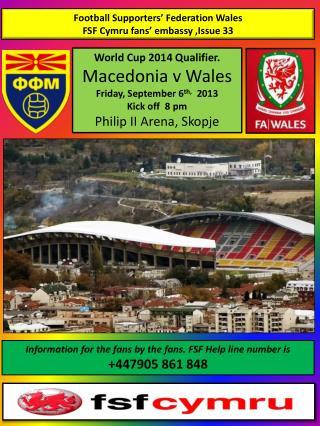 Football Supporters� Federation Wales FSF  Cymru fans� embassy ,Issue 33