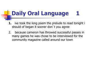 Daily Oral Language	1