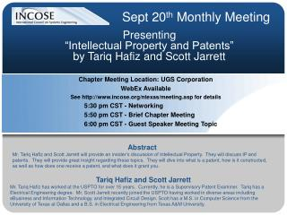 Presenting  �Intellectual Property and Patents�  by Tariq Hafiz and Scott Jarrett