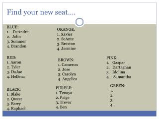 Find your new seat….