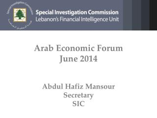 Arab Economic Forum June 2014