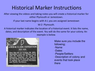 Historical Marker Instructions