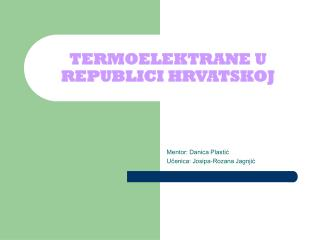 TERMOELEKTRANE U REPUBLICI HRVATSKOJ