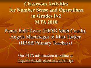 Classroom Activities  for Number Sense and Operations  in Grades P-2 MTA 2010