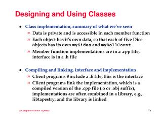 Designing and Using Classes