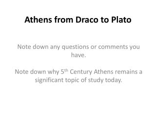 Athens from Draco to Plato