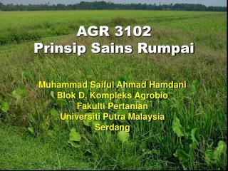 AGR 3102 Prinsip Sains Rumpai