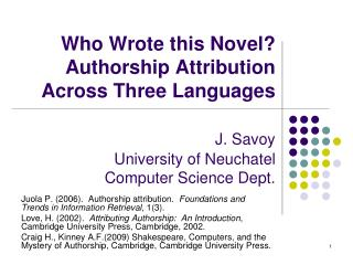 Authorship Attribution