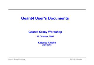Geant4 User's Documents