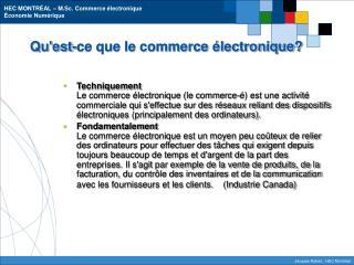 Qu'est-ce que le commerce électronique?