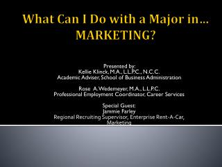 What Can I Do with a Major in� MARKETING?