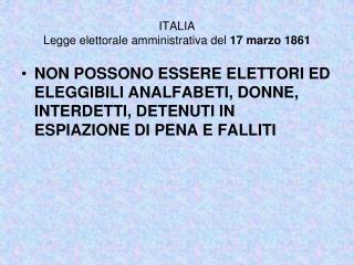 ITALIA Legge elettorale amministrativa del  17 marzo 1861