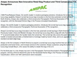 Ampac Announces New Innovative Retail Bag Product and Third Consecutive FTA Recognition