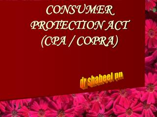 CONSUMER PROTECTION ACT   CPA