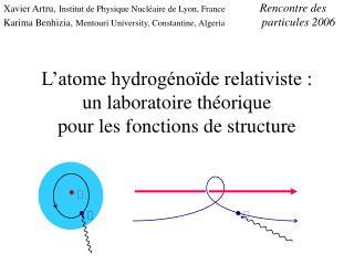 L'atome hydrogénoïde relativiste : un laboratoire théorique  pour les fonctions de structure