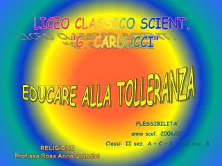 EDUCARE ALLA TOLLERANZA