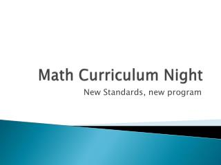 Math Curriculum Night