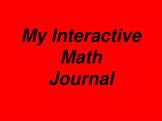 My Interactive Math  Journal