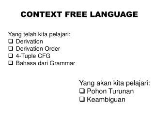 CONTEXT FREE LANGUAGE