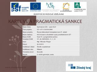 Karel VI. a pragmatick� sankce