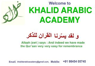 Welcome to KHALID ARABIC ACADEMY