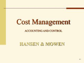 Cost Management  ACCOUNTING AND CONTROL