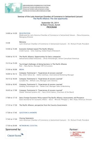 Seminar of  the  Latin  American Chamber of Commerce  in Switzerland ( Latcam )