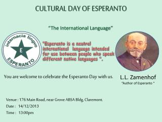 CULTURAL DAY OF ESPERANTO