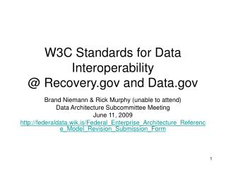 W3C Standards for Data Interoperability @ Recovery and Data