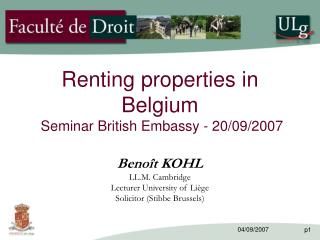 Renting properties in Belgium  Seminar British Embassy - 20/09/2007