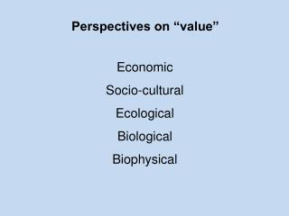 "Perspectives on ""value"""