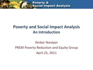 Poverty  and Social Impact Analysis  An Introduction