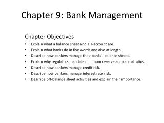 Chapter 9: Bank Management