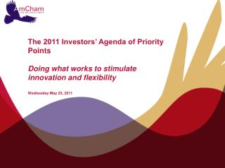 AmCham's Investors' Agenda of Priority Points