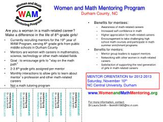Women and Math Mentoring Program Durham County, NC
