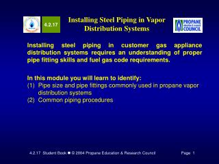 Installing Steel Piping in Vapor Distribution Systems