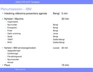 Plenumsession – IBM