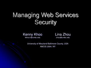 Managing Web Services Security