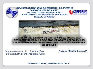 Tutora  Académica : Ing. Scandra Mora           Autora: Giselle Gómez P.