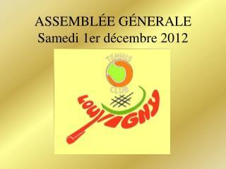 ASSEMBL É E G É NERALE Samedi 1er décembre 2012