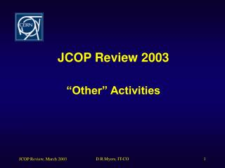 "JCOP Review 2003 ""Other"" Activities"