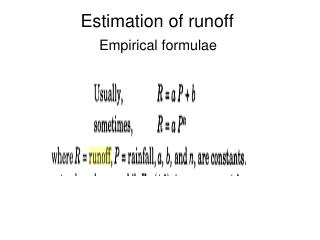 Estimation of runoff