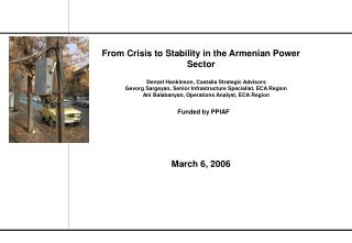 From Crisis to Stability in the Armenian Power Sector