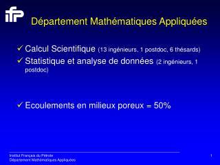 Département Mathématiques Appliquées