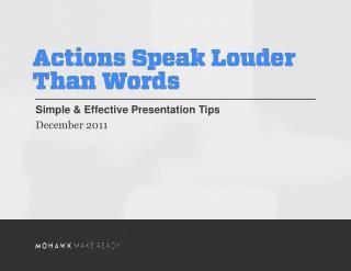 Simple & Effective Presentation Tips December 2011