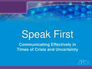 Speak First