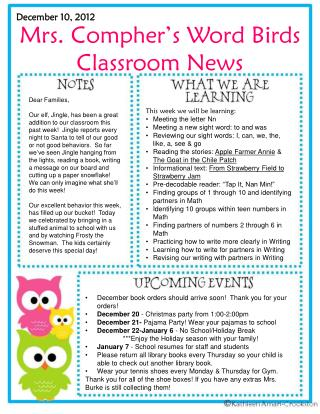 Mrs. Compher�s Word Birds  Classroom News